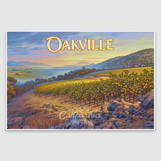 Oakville AVA wine region poster print on paper