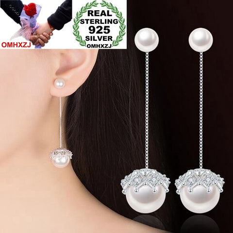 925 Sterling Silver Detachable Lace Pearl Dangle Earrings