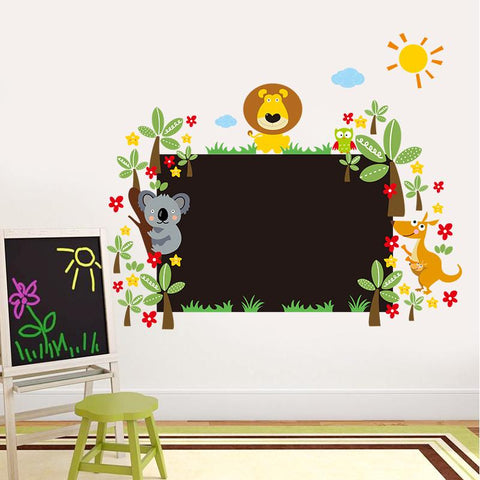 Chalkboard With Cartoon Animal Wall Decal