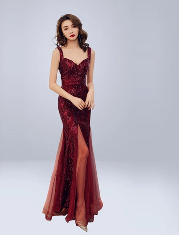 Sequin Split Formal Gown
