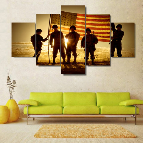 American Heros 5 Panel Canvas Wall Art - Amazing Steals N Deals