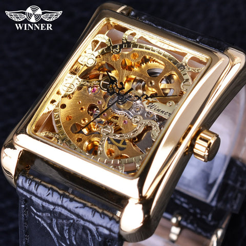 Men's Rectangle Skeleton Watch With Leather Band