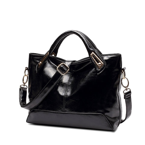 Large Capacity Oil Waxed Faux Leather Handbag - Amazing Steals N Deals