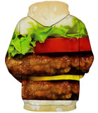 Double Cheese Burger 3D Printed Hoodie - Order Larger Size - Amazing Steals N Deals
