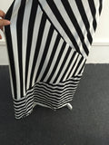 Black & White Block Striped Maxi Skirt