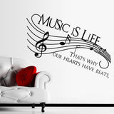 Music Is Life Quote Wall Decal
