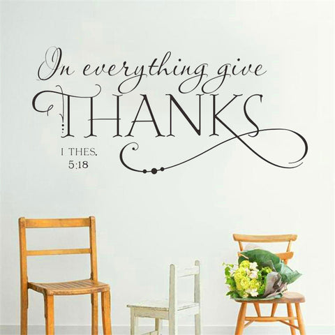 Give Thanks Bible Quote Wall Decal