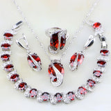 925 Sterling Silver Jewelry Set With Red Zircon And White CZ - Amazing Steals N Deals