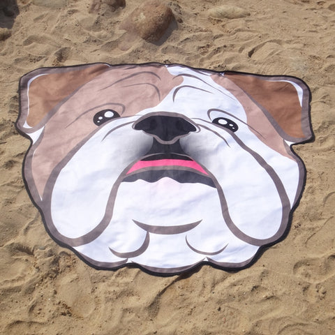 Bull Dog 3D printed Round Beach Towel