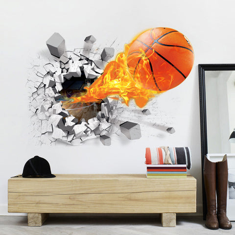 Hole In The Wall Flaming Basketball Wall Decal