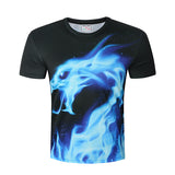 Blue Flaming Dragon 360 Design T-Shirt - Order Larger Size - Amazing Steals N Deals