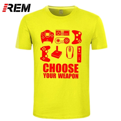 Choose Your Weapon Gamer T Shirt In Red Graphics