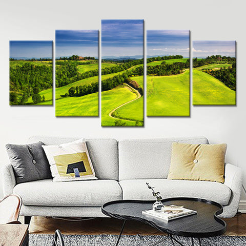 Rolling Green Fields 5 Panel Canvas Print Wall Art - Amazing Steals N Deals