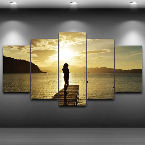 Sunrise On The Dock 5 Panel Canvas Print Wall Art - Amazing Steals N Deals