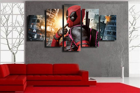 Deadpool HD Printed 5 Panel Canvas Wall Art - Amazing Steals N Deals