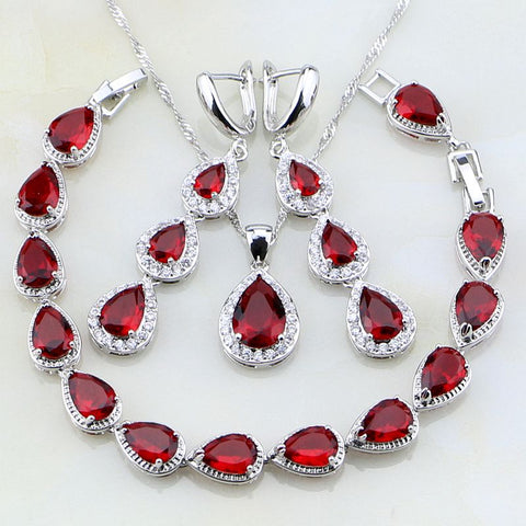 925 Sterling Silver Tear Drop Shaped Red And White CZ  Jewelry Set