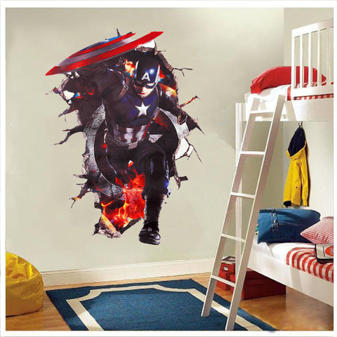 Captain America Charging Through The Wall Decal - Amazing Steals N Deals