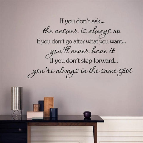If You Don't Ask Inspirational Quote Wall Decal