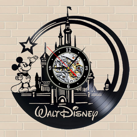 Walt Disney Castle Vinyl Record Wall Clock In 3 Designs