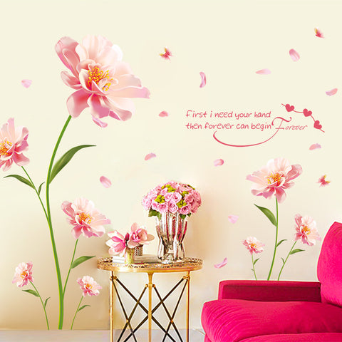 Pink Flowers With Quote Wall Decal