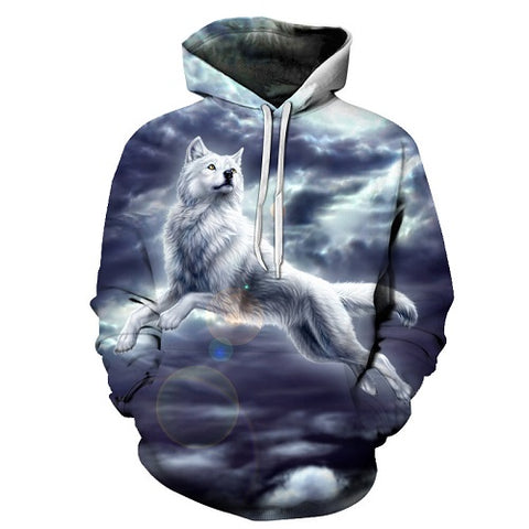 White Wolf 360 Printed Hoodie - Order Larger Size - Amazing Steals N Deals