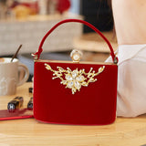 Velour Purse With Gold Crystal Flower Design