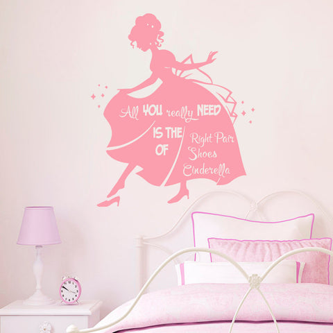 "Princess Quote ""All You Really Need Is The Right Pair of Shoes"" Wall Decal - Amazing Steals N Deals"