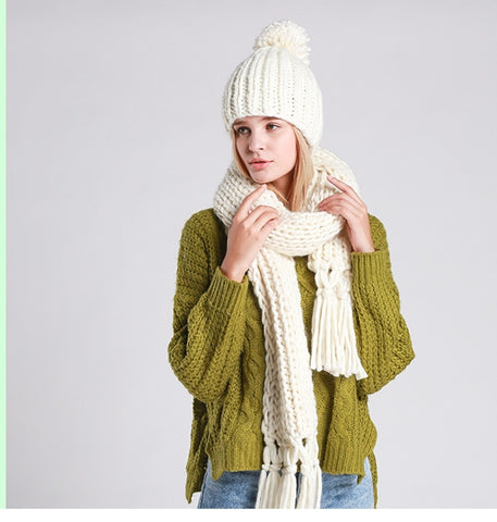 Acyrlic Knit Hat and Scarf Set