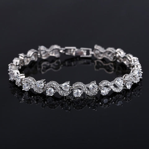 925 Sterling Silver With Cubic Zirconia Stone Tennis Bracelet
