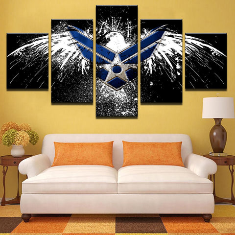 Air Force Eagle Abstract 5 Panel Canvas Print Wall Art - Amazing Steals N Deals