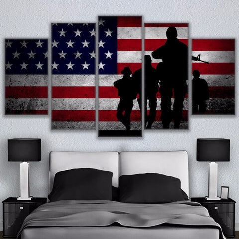Defending The Flag 5 Panel Canvas Wall Art - Amazing Steals N Deals