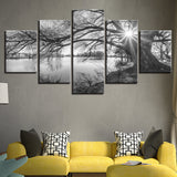Serenity On The Lake 5 Panel Canvas Print Wall Art - Amazing Steals N Deals