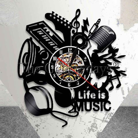 Music Is My Life Vinyl Record Wall Clock