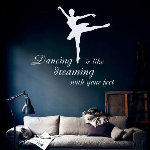 Ballerina Vinyl Quote Wall Decal - Amazing Steals N Deals