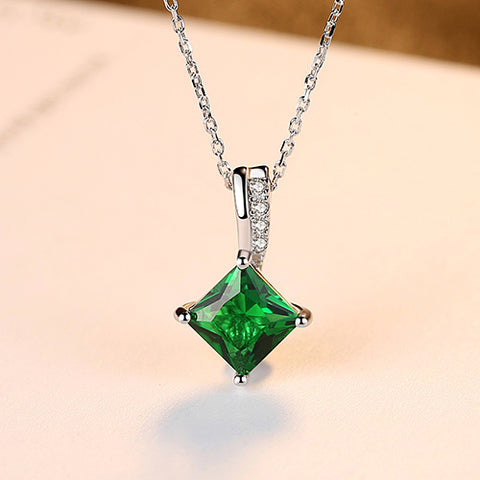 925 Sterling Silver Necklace And Emerald Green CZ Pendant - Amazing Steals N Deals