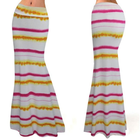 Airbrushed Striped Print Maxi Skirt