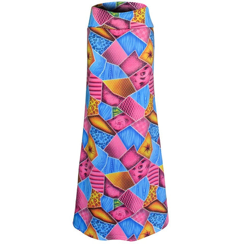 Colorful Geometric Patch Print Maxi Skirt