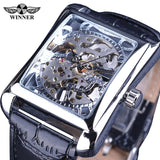 Men's Rectangle Skeleton Watch With Leather Band - Amazing Steals N Deals
