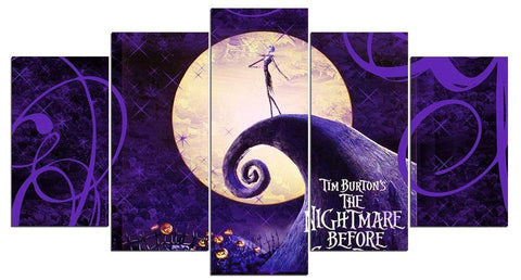 The Nightmare Before Christmas 5 Panel Canvas Wall Art - Amazing Steals N Deals