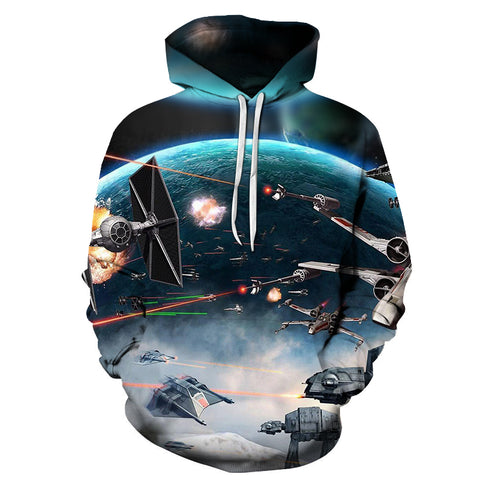 Star Wars Battle 360 Printed Hoodie - Order Larger Size