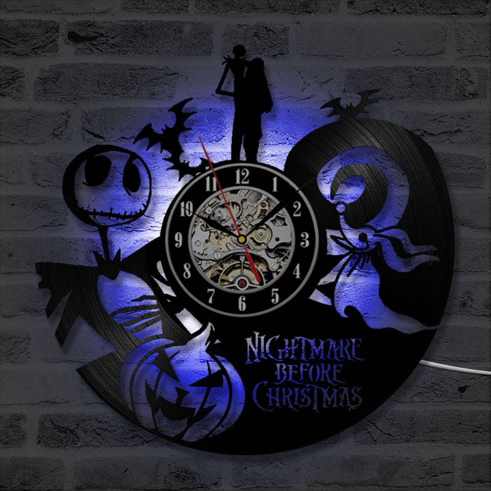 The Nightmare Before Christmas Love Story Vinyl LED Wall Clock ...