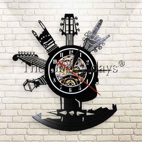 Guitar Arms Vinyl Record Clock Wall