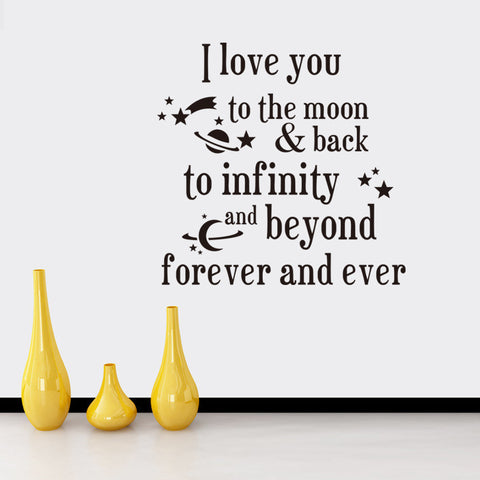 I Love You To The Moon And Back Quote Wall Stickers - Amazing Steals N Deals