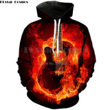 Flaming Guitar 3D Printed Hoodie - Order Larger Size - Amazing Steals N Deals