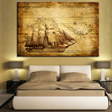 Vintage Sailers Map With Schooner Canvas Print Wall Art - Amazing Steals N Deals