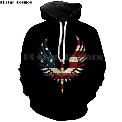 American Patriotic 3D Printed Hoodie In 3 Designs