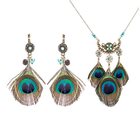 Bohemian Natural Peacock Feather Pendant Necklace Earring Set