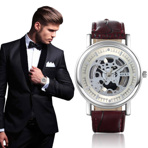 Men's Quartz Skeleton Watch With Leather Band