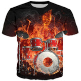 Flaming Drums 3D Printed T-Shirt - Order Larger Size - Amazing Steals N Deals