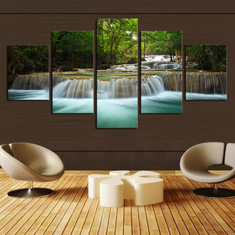 Tranquil Stream And Waterfall HD Printed 5 Panel Canvas Wall Art - Amazing Steals N Deals